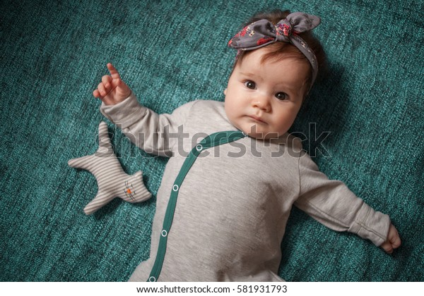 5 months old lovely stylish baby portrait