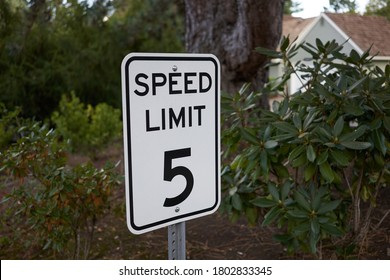 5 mph speed limit sign in a neighborhood parking lot.