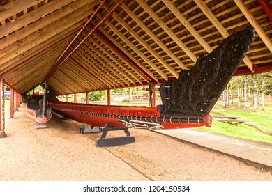 5 November 2013: Treaty Grounds, Northland, New Zealand - The traditionally styled boathouse on the Waitangi houses two waka (canoes), including the 35.7m Ngātokimatawhaorua.
