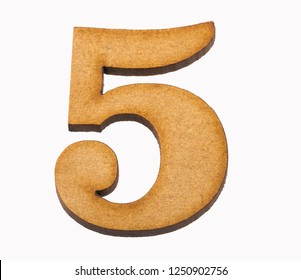 5, Number in wood isolated on white background
