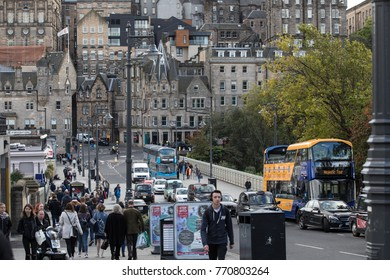 5 October 2017 , Edinburgh scotland, tourist walking along the street