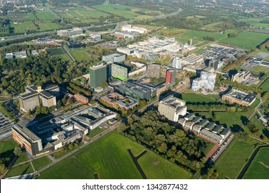 5 October 2018, Utrecht, Holland. Aerial view of Utrecht Science Park, DE UITHOF, University and campus. The building with all the colours is the Casa Confetti.