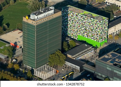 5 October 2018, Utrecht, Holland. Aerial view of Casa Confetti, a colourful student building and the tower of the University. It is locates at the campus of Utrecht Science Park, DE UITHOF.