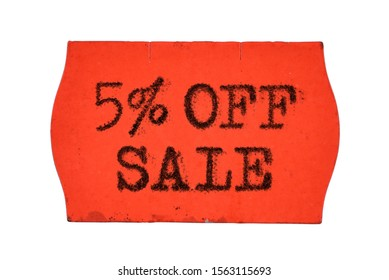 5 OFF percent Sale printed with typewriter font on red price tag sticker isolated on white background