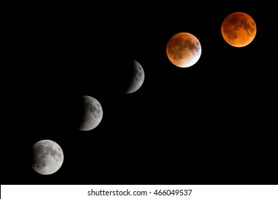 5 phases of the total lunar eclipse that occurred on September 27, 2015