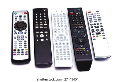 5 Remote controls isolated on a white background