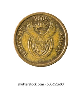 5 south african cent coin (2008) reverse isolated on white background