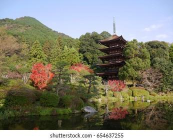 5 storey wooden pagoda at Rurikoji Temple Yamaguchi Japan