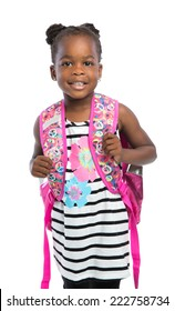 5 year old african american girl standing wear casual outfit carrying backpack isolated on white background