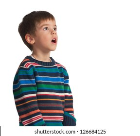 a 5 year old boy making a silly face,isolated on white background.Mothers day theme