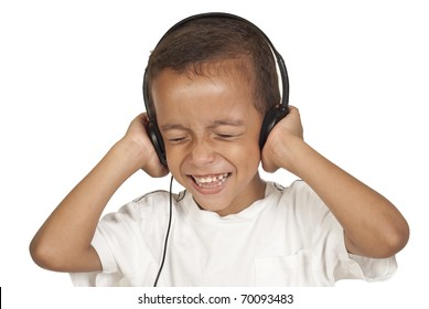 5 year old with headset enjoys music