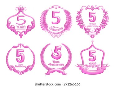5 years anniversary sign collection design in 3d pink on isolated white