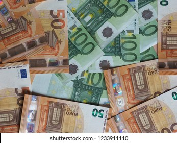 50 and 100 Euro banknotes money (EUR), currency of European Union