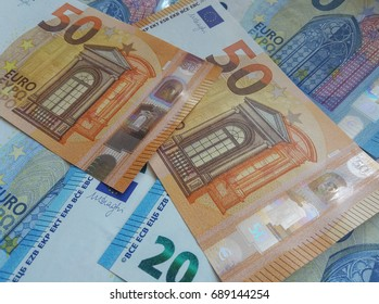 50 and 20 euro notes money (EUR), currency of European Union