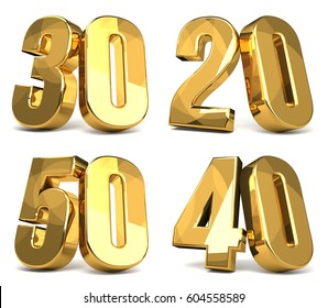 50 40 30 20 golden 3d render symbol