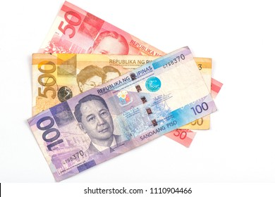 50, 500,100 pesos banknote of REPUBLIKA NG PILIPINAS. Pesos is the national currency of Philippines. Close Up.