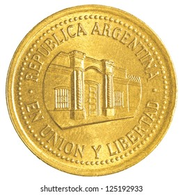 50 argentinian peso centavos coin isolated on white background