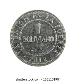 50 bolivian boliviano coin (2012) obverse isolated on white background