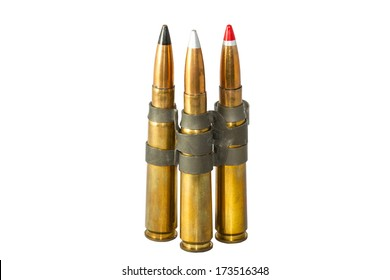 50 Cal Ammunition with different kinds of projectiles.