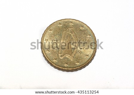 50 Cent Euro Coin Depiction Harp Stock Photo Edit Now 435113254