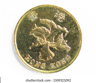 50 Cents coin, 1992~Today - Bauhinia Series, Bank of Hong Kong. Obverse, issued on 1993. Isolated on white