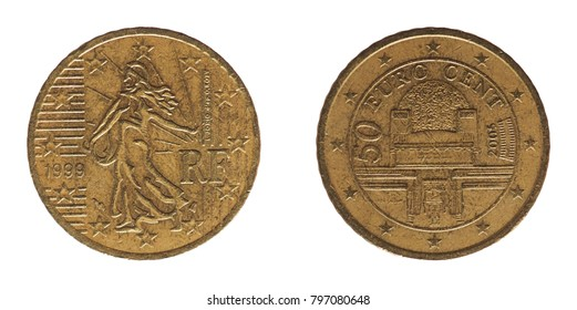 50 cents coin money (EUR), currency of France and Austria, European Union