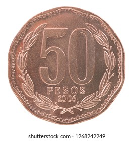 50 chilean pesos coin isolated on white background