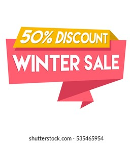 50 % discount winter sale red orange sign isolated on white