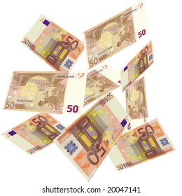 50 EURO Bank Notes floating in the air.