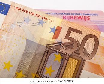 50 euro banknote and car license