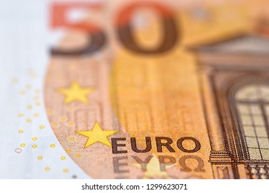 50 euro banknote close up. Fifty euros bill. Cash background.