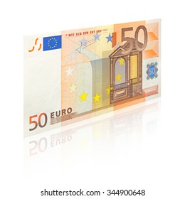 50 Euro banknote perspective view - isolated on white background