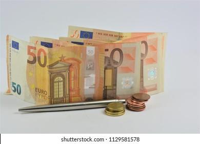 50 euro banknotes on a white background