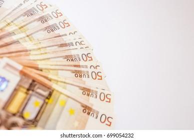 50 euro banknotes in a row. European Union Currency. Stack of 50 euro banknotes. Euros - Money - euro cash background. Euro Money Banknotes