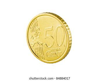 50 euro cent on white