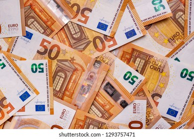 50 euros. Fifty euro notes as a background.