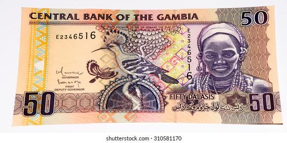 50 Gambian dalasi bank note. Gambian dalasi is the national currency of Gambia
