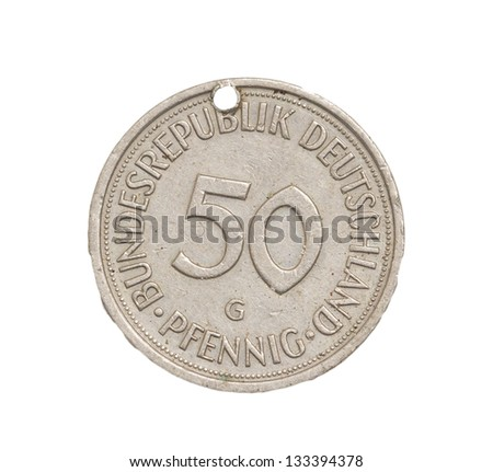 50 German Mark Pfennig Coin Isolated Stock Photo Edit Now