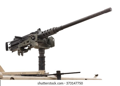 50 mm caliber machine gun mounted on a military vehicle isolated on white background