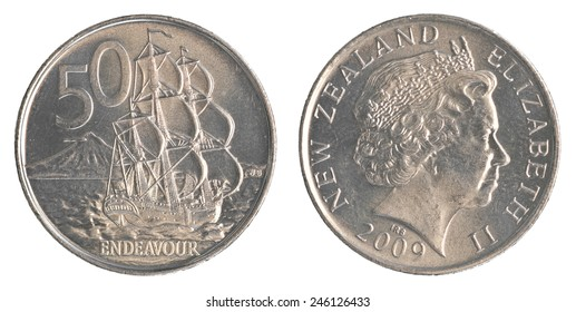 50 New Zealand cents coin isolated on white background