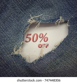 50% off with jeans background