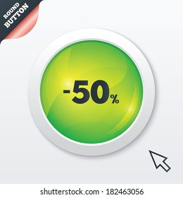 50 percent discount sign icon. Sale symbol. Special offer label. Green shiny button. Modern UI website button with mouse cursor pointer.