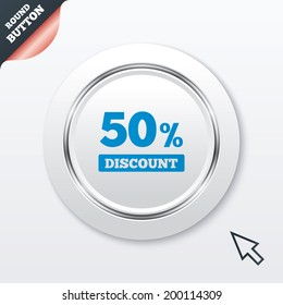 50 percent discount sign icon. Sale symbol. Special offer label. White button with metallic line. Modern UI website button with mouse cursor pointer.