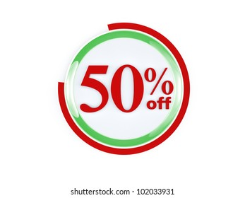 50 percent off glass isolated on white background