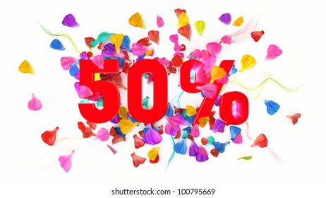 50 percent off on white isolated background full with colored petals