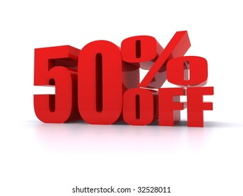 50% Percent off promotional sign