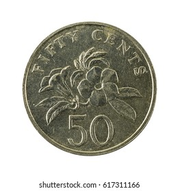 50 singapore cent coin (2007) obverse isolated on white background