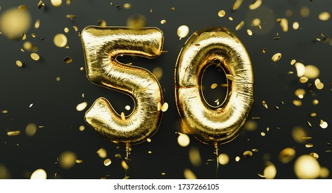 50 years old. Gold balloons number 50th anniversary, happy birthday congratulations, with falling confetti