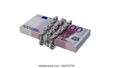 500 Euro bank notes secured with a silver chain - 3d rendering