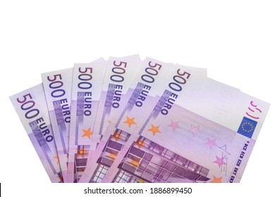 500 Euro bills arranged in a fan from above on white background